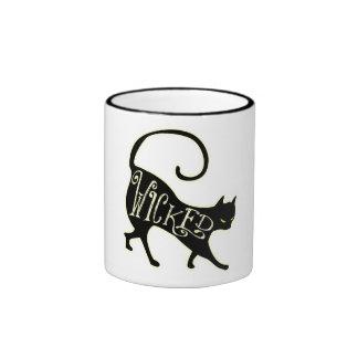 Gato negro travieso tazas de café