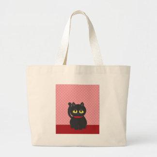 Gato negro triste bolsa tela grande