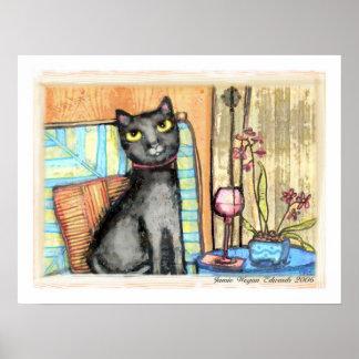 Gato negro, vino y impresión de la bella arte de l póster