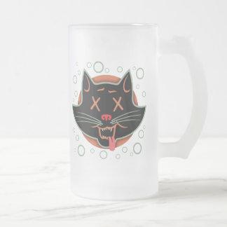 Gato negro X-Observado Jarra De Cerveza Esmerilada