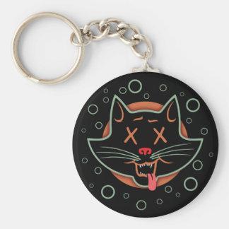 Gato negro X-Observado Llavero Redondo Tipo Pin