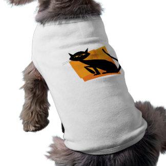 Gato negro y anaranjado playera sin mangas para perro