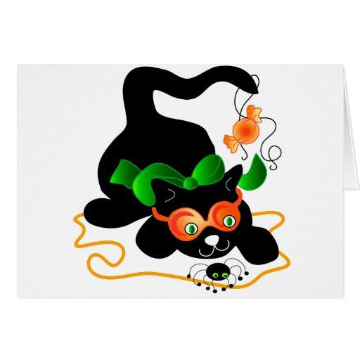 Gato negro y araña tarjeton