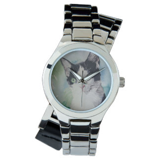 Gato negro y blanco hermoso reloj de mano