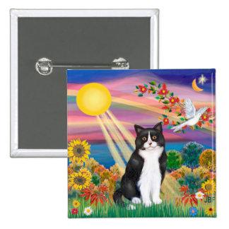 Gato negro y blanco - otoño Sun Pin Cuadrado