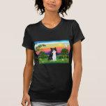 Gato negro y blanco - país brillante camisetas