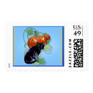 Gato negro y calabaza Glaring Sello Postal