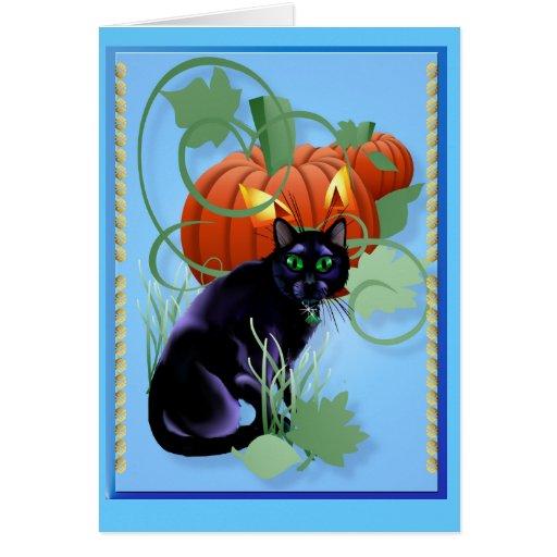 Gato negro y calabaza Glaring Tarjeta De Felicitación