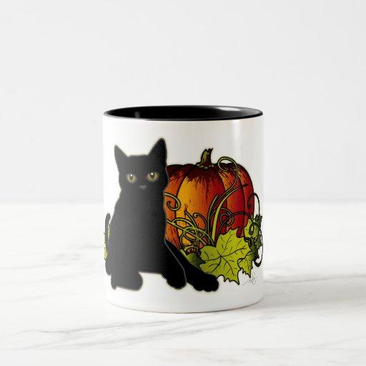 Gato negro y calabaza taza de dos tonos