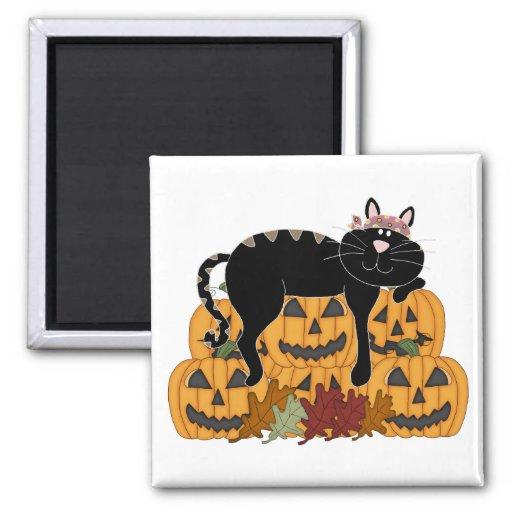 Gato negro y calabazas imán de nevera