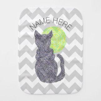 Gato negro y el amante Chevron del gato de la luna Paños Para Bebé