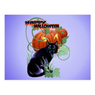 Gato negro y el deslumbrarse Calabaza-indicados co Postal