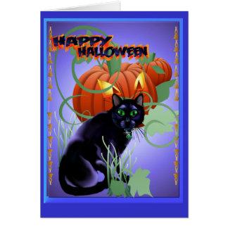 Gato negro y el deslumbrarse Calabaza-indicados co Tarjeta De Felicitación