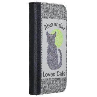 Gato negro y el gatito felino del amante del gato carcasa de iPhone 6