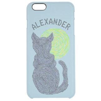 Gato negro y el gatito felino del amante del gato funda clear para iPhone 6 plus