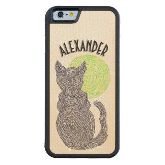 Gato negro y el gatito felino del amante del gato funda de iPhone 6 bumper arce