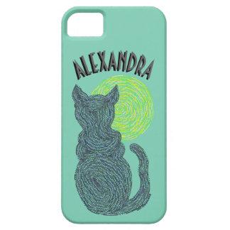 Gato negro y el gatito felino del amante del gato funda para iPhone SE/5/5s