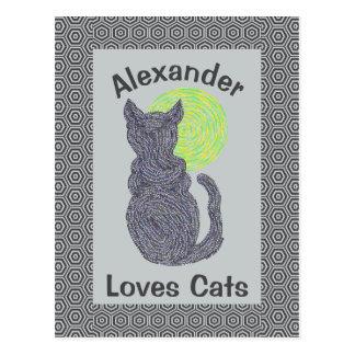 Gato negro y el gatito felino del amante del gato tarjeta postal
