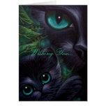 Gato negro y gatito - tarjeta del día de fiesta