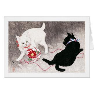 Gato negro y gato blanco, Takahashi Shôtei Tarjeta De Felicitación