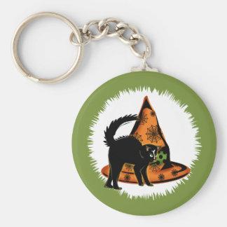 Gato negro y gorra de las brujas llavero redondo tipo pin