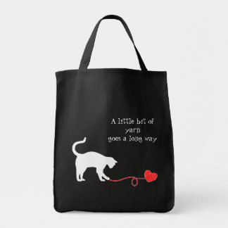 Gato negro y hilado en forma de corazón (rojos) bolsa tela para la compra