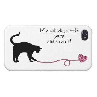 Gato negro y hilado en forma de corazón (rosa) iPhone 4/4S fundas