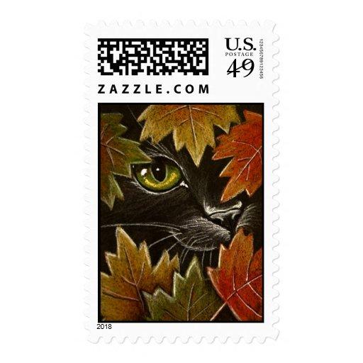 Gato negro y hojas de otoño