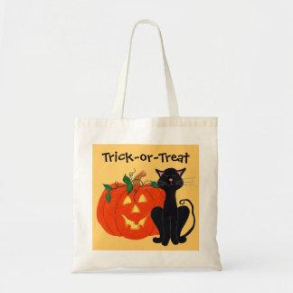 Gato negro y Jack-o-linterna - la bolsa de asas