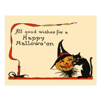 Gato negro y Jack-o-Linterna Postal