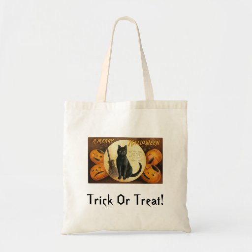 gato negro y jackolanterns bolsa de mano