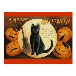 gato negro y jackolanterns postales