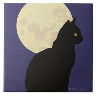 Gato negro y la luna azulejo
