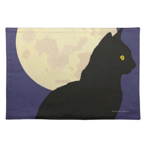 Gato negro y la luna manteles individuales
