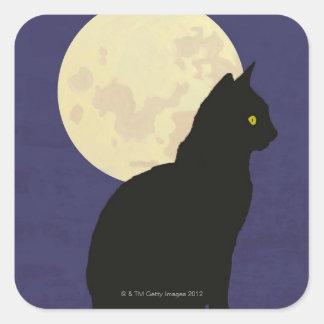 Gato negro y la luna pegatina cuadrada