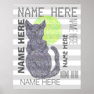 Gato negro y las rayas del amante del gato de la póster