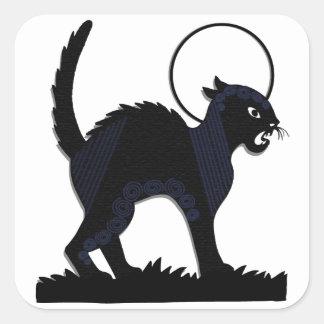 Gato negro y luna - 1 de Halloween Pegatina Cuadradas Personalizada