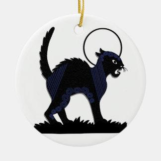 Gato negro y luna - 3 de Halloween Adorno Navideño Redondo De Cerámica