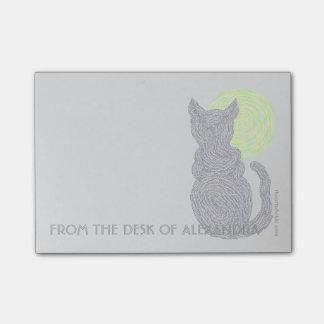 Gato negro y luna de Z del escritorio de Notas Post-it®