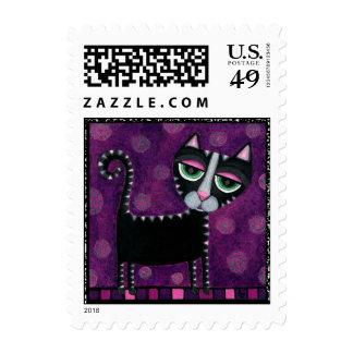 Gato negro y lunares púrpuras/rosados - sellos
