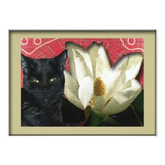"""Gato negro y magnolia invitación 5"""" x 7"""""""