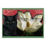 Gato negro y magnolia tarjeta de felicitación