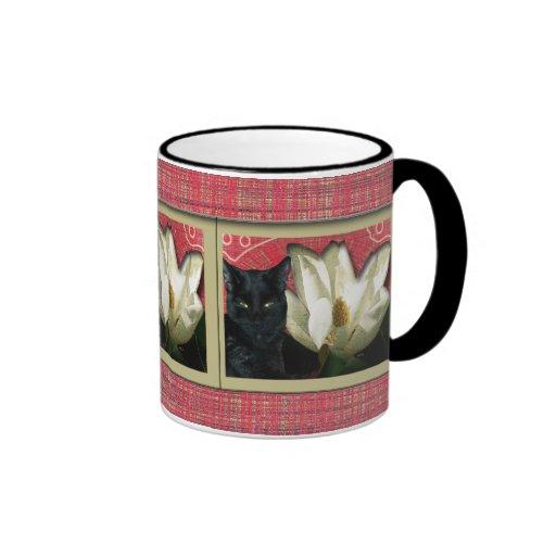 Gato negro y magnolia tazas de café
