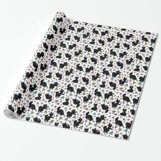 Gato negro y mariposas papel de regalo
