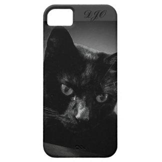 Gato negro y monograma curiosos funda para iPhone SE/5/5s