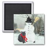 Gato negro y muñeco de nieve imán de frigorifico