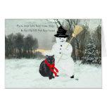 Gato negro y muñeco de nieve tarjetas