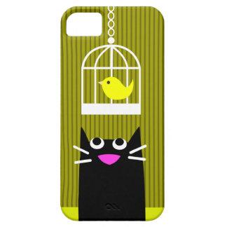 Gato negro y pájaro amarillo iPhone 5 carcasa