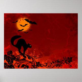 Gato negro y palos de Halloween Posters