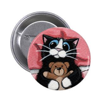 Gato negro y peluche - botón del arte del gato pin redondo de 2 pulgadas